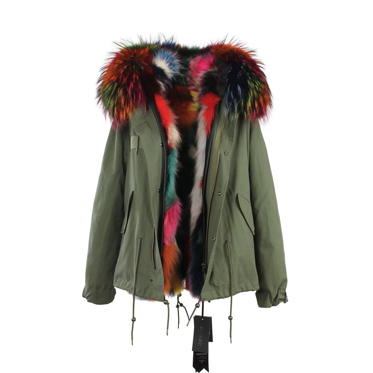 Parka With Colored Fur Hood