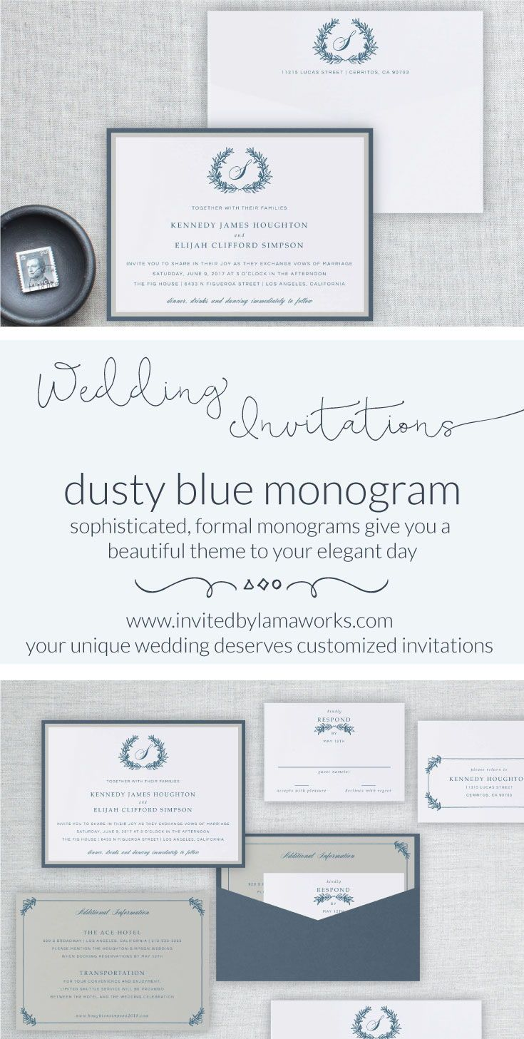 Classic Crest Wedding Invitation Dusty Blue Wreath Monogram Wedding
