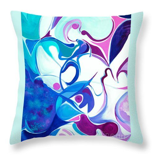 Points Spheres And Curving Shapes Abstract Original Art At A Minimalist Stage Blues And Purples Dominate Throw Pillow featuring the painting Wish Bones by Expressionistart studio Priscilla Batzell