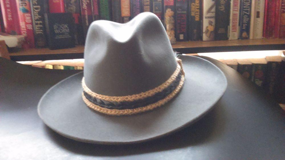 Vintage Stetson Gun Club 3X Beaver Fur Felt Cowboy Fedora Hat. Size 7 1 8  Gray  Stetson  Cowboy  Everyday 22287cd47787