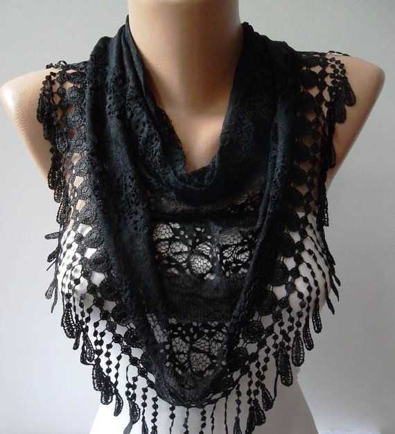 Black Laced Fabric Scarf with Special Black Trim by SwedishShop, $17.90