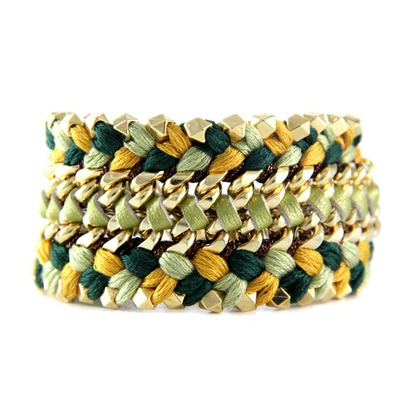 Ettika :: Bracelets :: Braided :: Golden Moat Bracelet in Olive