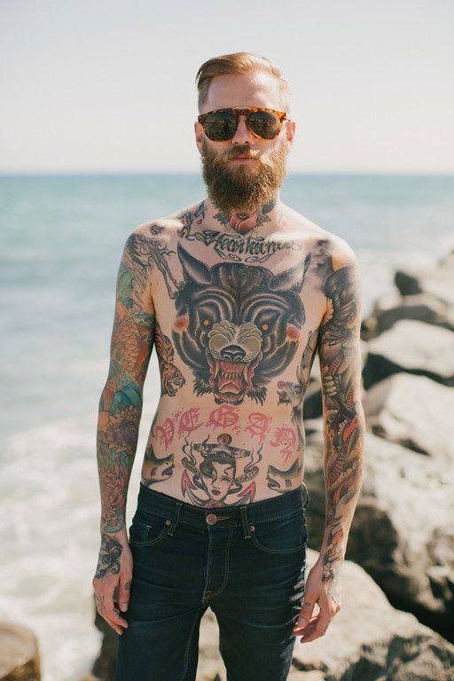 Jona Weinhofen in Dr. Denim and Zeus beard oil. Photographer: Nicole Leever