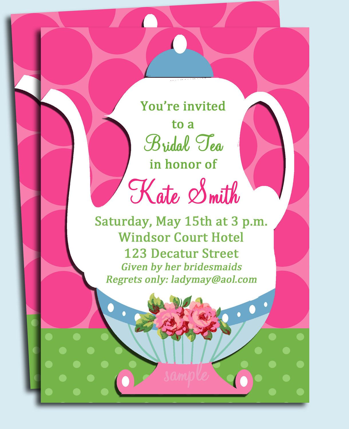 Printable tea party invitation wedding shower tea party birthday printable tea party invitation wedding shower tea party birthday or any tea party stopboris Gallery