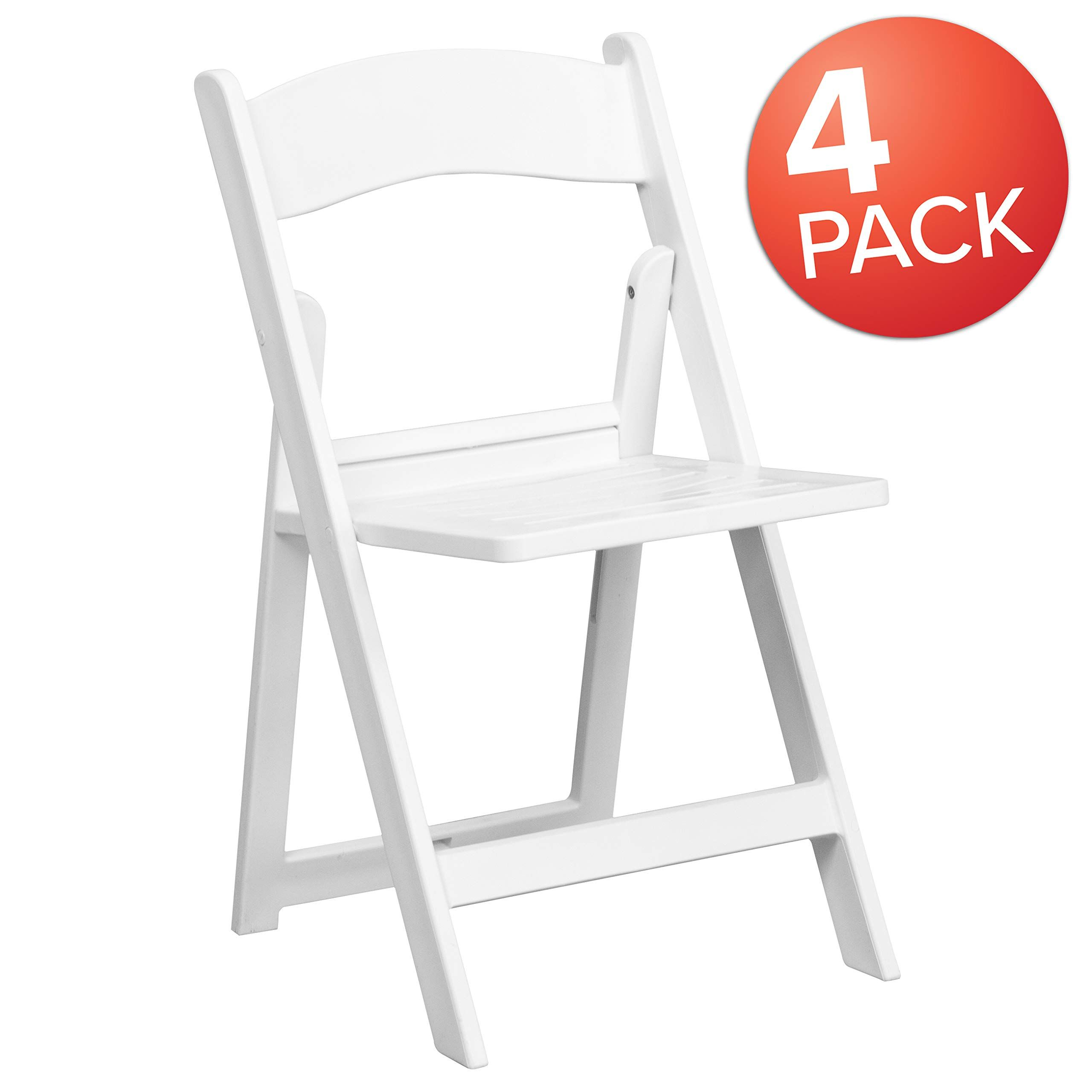 Flash Furniture 4 Pk Hercules Series 1000 Lb Capacity White Resin Folding Chair With Slatted Seat 4 Le L 1 Wh Slat Gg Folding Chair