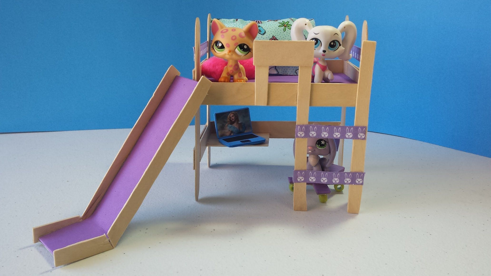 How To Make An Lps Loft Bed With Optional Slide Doll Diy