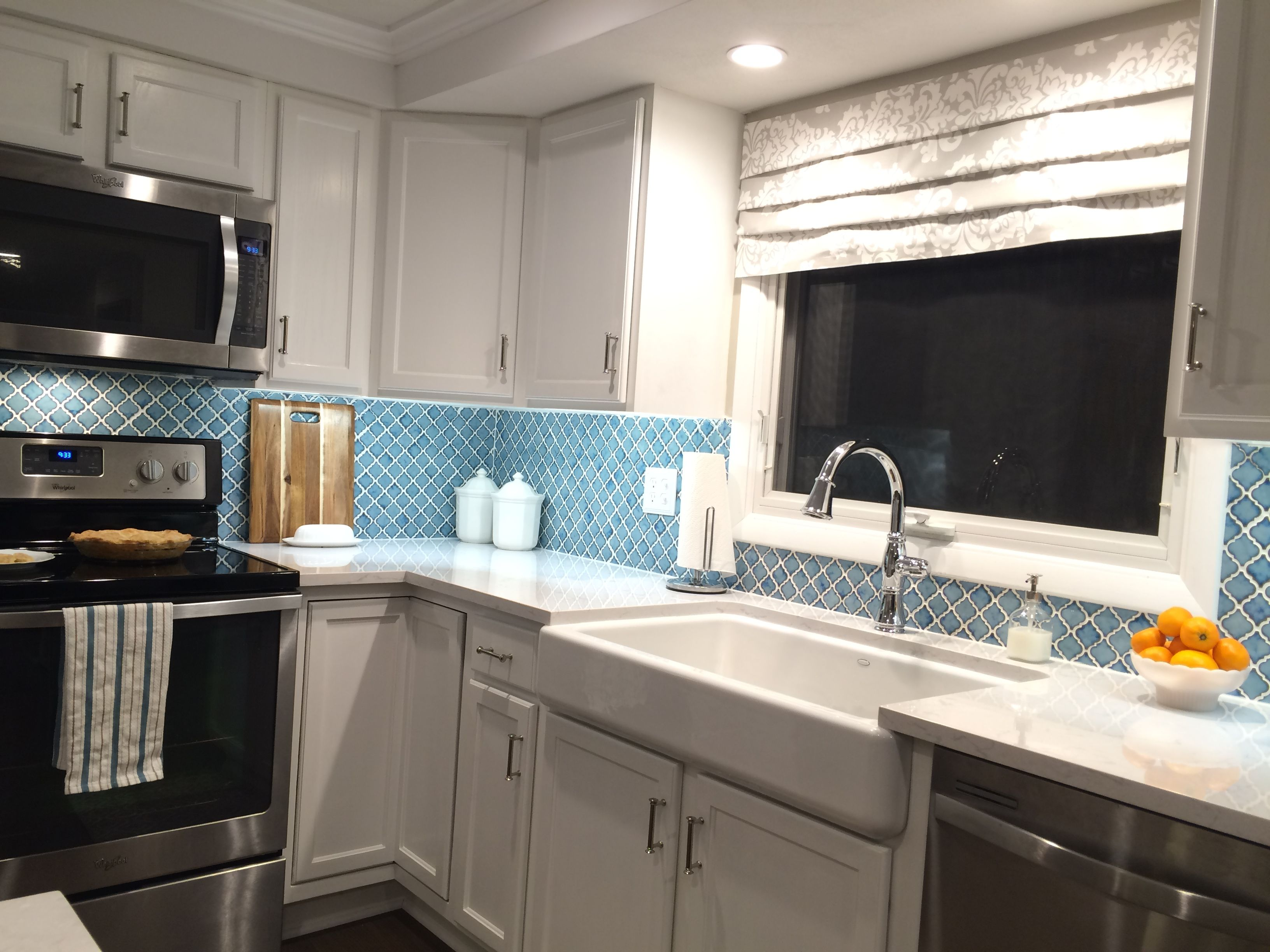 White Kitchen With Turquoise Backsplash Tile Wayfair Pharsalia Porcelain In Marine