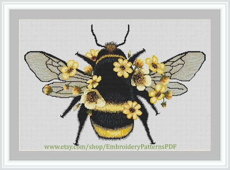 Cute Fluffy Bumblebee Cross Stitch Pattern Bumblebee Etsy In 2020 Cross Stitch Cross Stitch Patterns Stitch Patterns