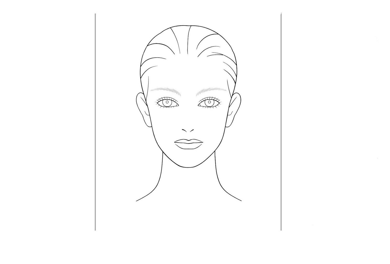 outline picture of a womens face for insturctional use