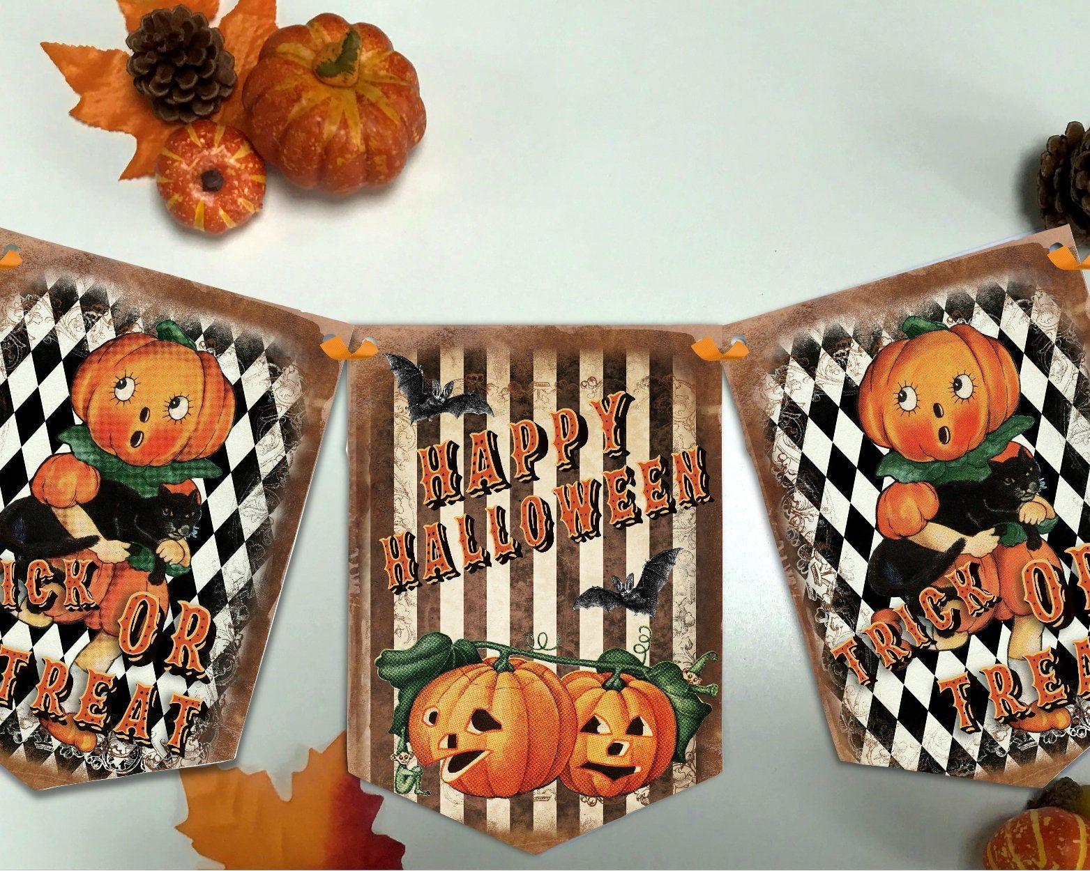 Halloween Banner Retro Pumpkin Bunting Halloween Banner Etsy In 2020 Halloween Banner Vintage Halloween Party Halloween Decorations