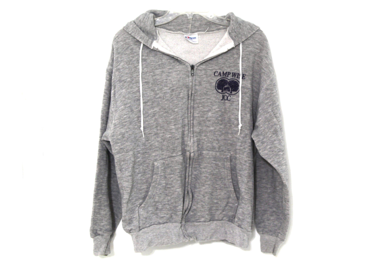 Vintage 80s Heather Gray Hoodie Sweatshirt Zip Up Metal Zipper Hooded Triblend By 216vintagemodern On Etsy Grey Sweatshirt Hoodie Hoodies Grey Hoodie