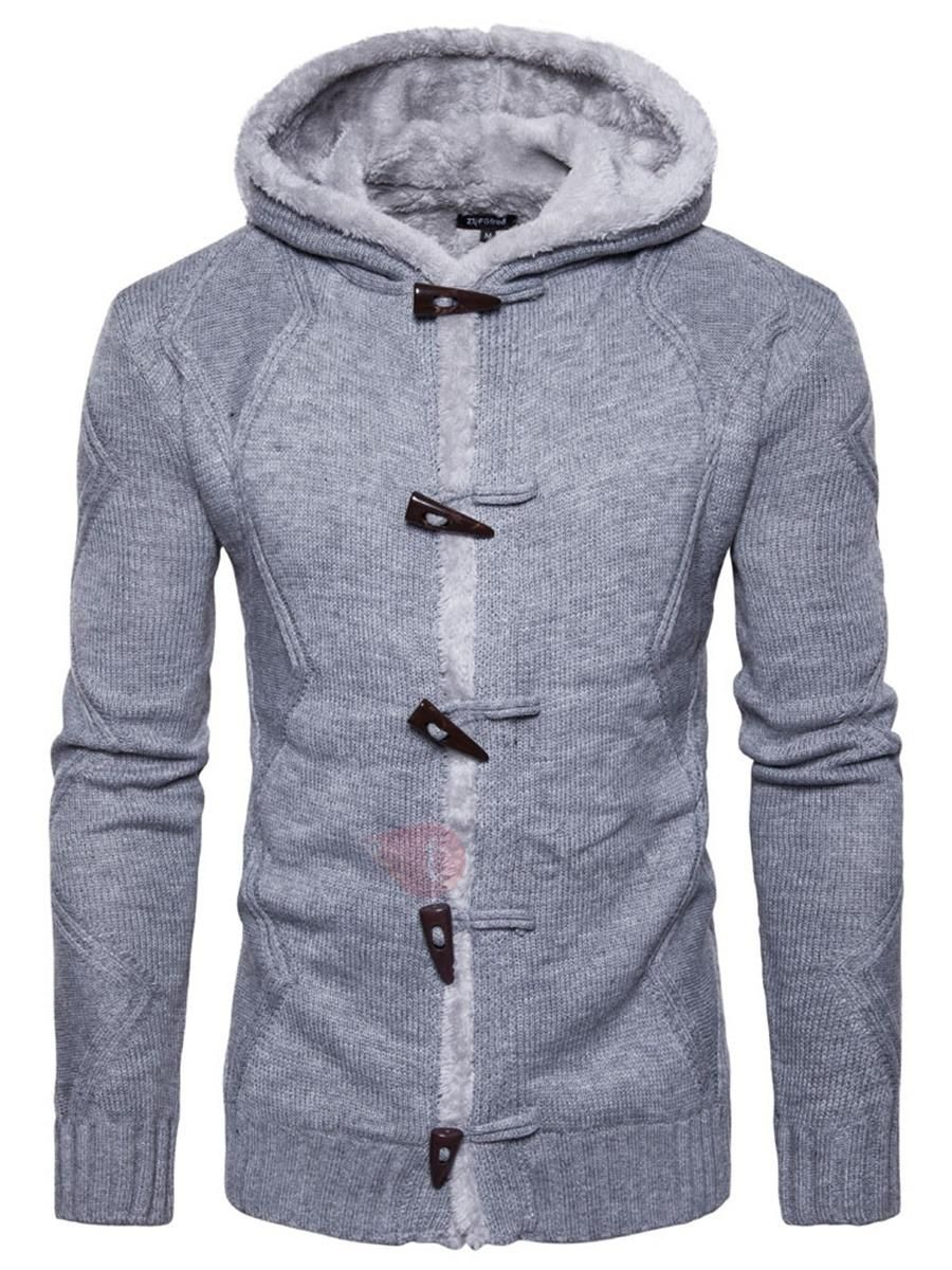 b13ceef0fc  TideBuy -  TideBuy Hooded Slim Horn Button Solid Color Mens Sweater -  AdoreWe.