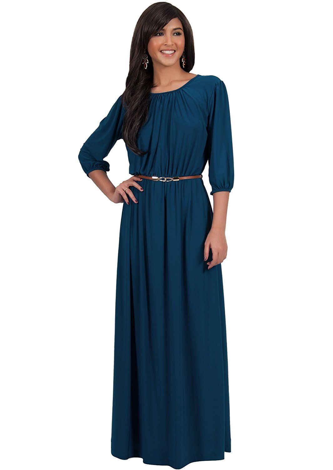 Koh Koh Womens Long 3 X2f 4 Sleeve Pleated Vintage Solid Fall Winter Maxi Dress At Amazon Women S Clothing Maxi Dress Teal Maxi Dress Maxi Dress With Sleeves [ 1500 x 1065 Pixel ]