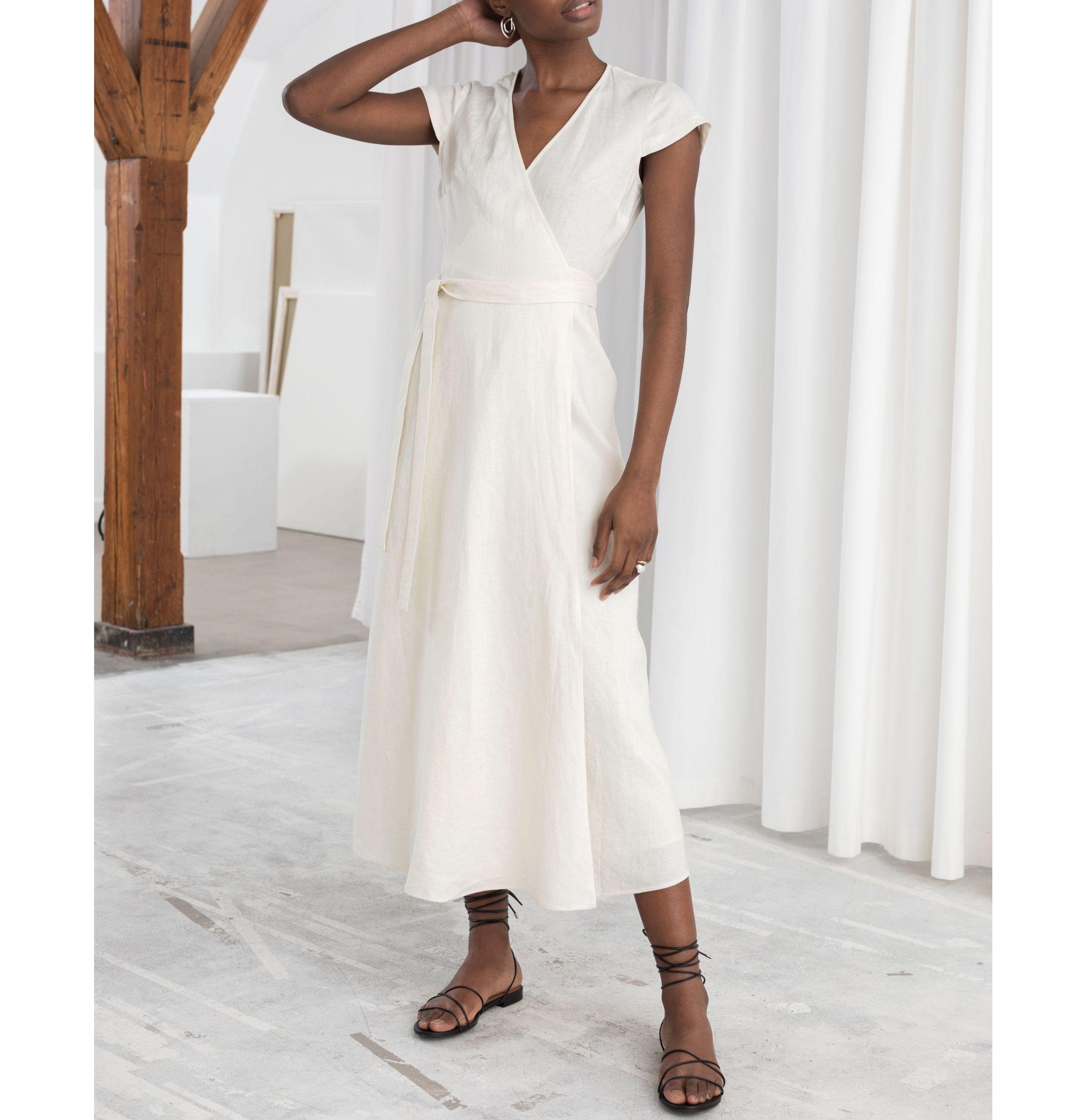 10 Breezy White Dresses To Wear All Summer Long White Dress Dresses Cotton Wrap Dress [ 2619 x 2539 Pixel ]