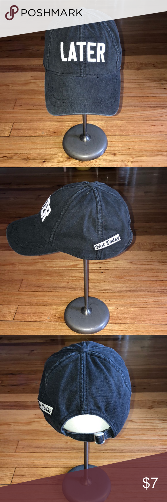 """def830c1c20 American Eagle embroidered baseball hat Washed Black AE baseball cap with """" LATER"""" embroidered on the front and an adjustable back strap American Eagle  ..."""