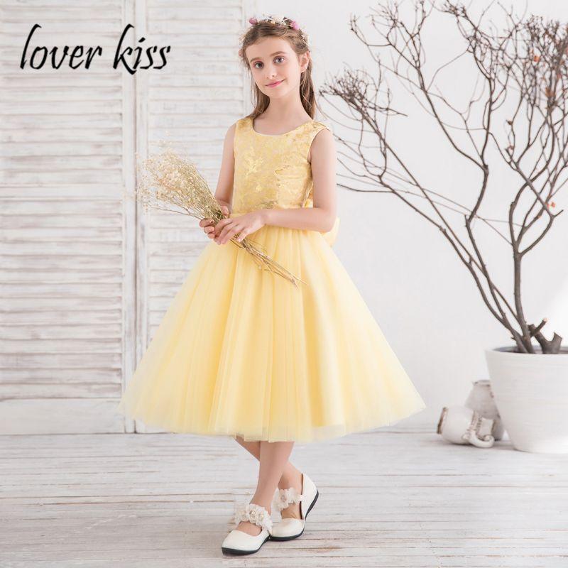4c10a83c83d7c Pas cher Amant Baiser Doux Thé Longueur A ligne Jaune Fleur Fille Robe avec  Bow Retour