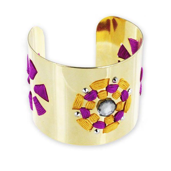 e3cc8a4b7 Bracelet manchette soleil fil nylon et strass Swarovski | diy ...