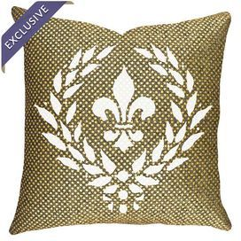 """Handmade in the USA, this chic pillow showcases a sequined cover and fleur-de-lis crest.    Product: PillowConstruction Material: NylonColor: Gold, black and whiteFeatures:  Made in the USAReverses to gold sequin backingInsert included Crest-inspired motif Handmade by TheWatsonShop  Dimensions: 16"""" x 16""""Cleaning and Care: Spot clean. Do not iron."""