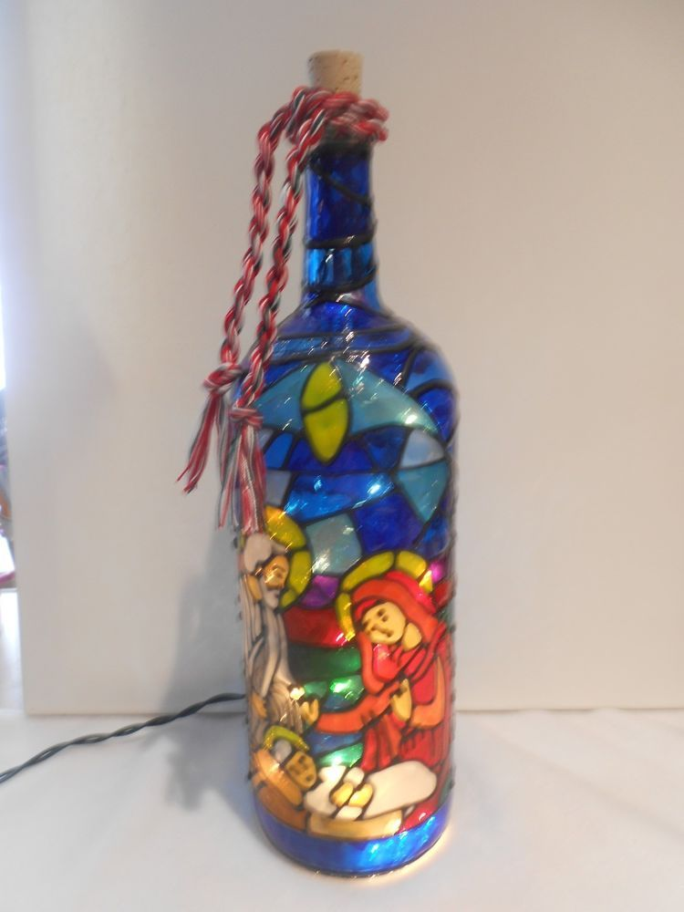 Christmas Nativity Lighted Wine Bottle Handpainted Stained Glass look