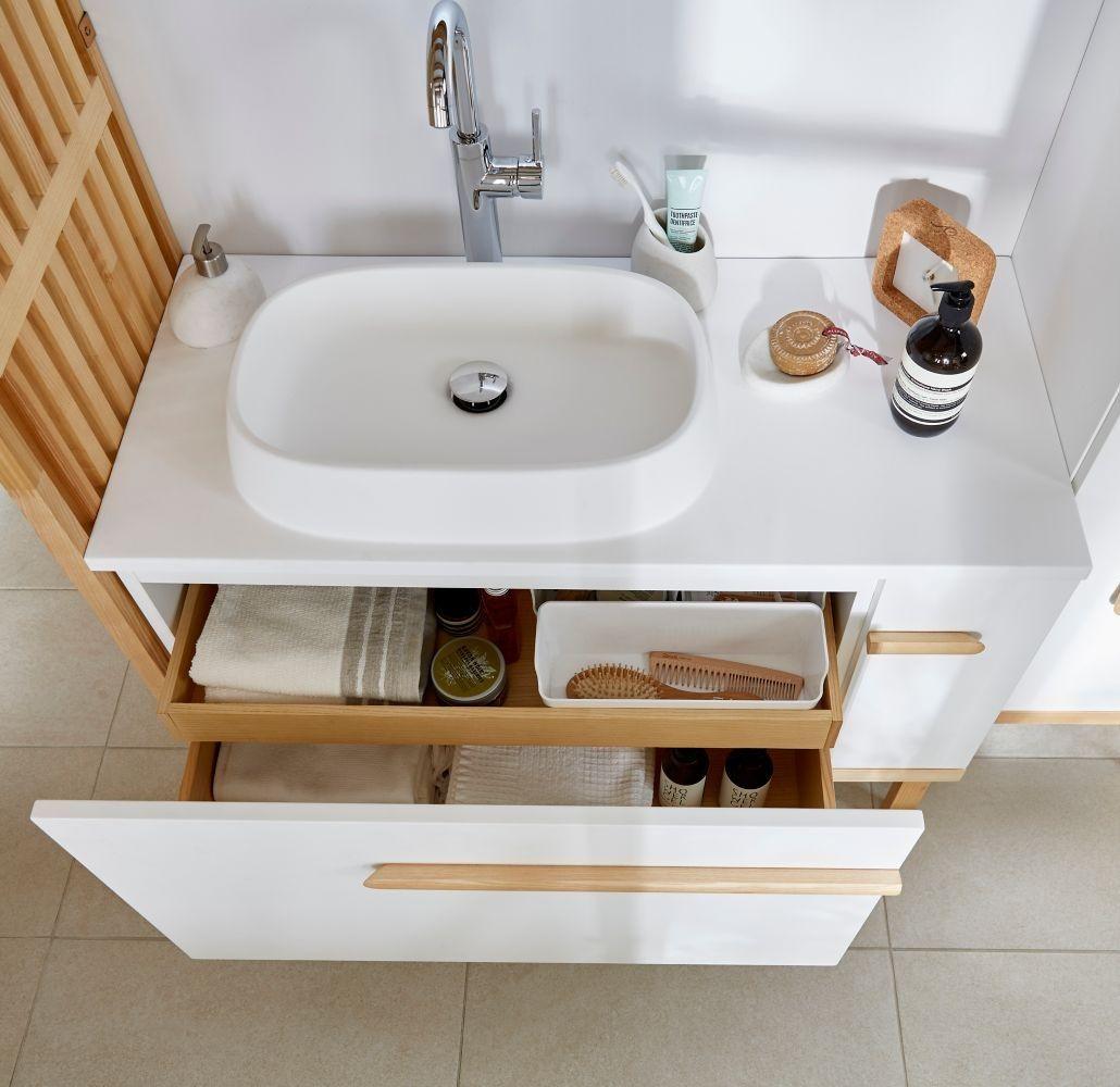 Meuble sous vasque à poser GoodHome Adriska blanc 18 cm + plan