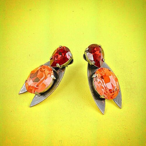 New Summer Collection: Red Fire Bug #Earrings - All #Crystal from #Swarovski® - Old #Silver-plated #Elements