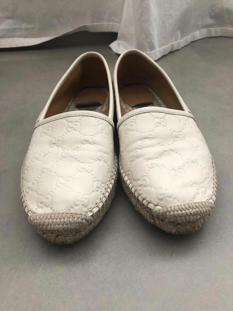 e0be235b87a Gucci Pilar GG White Leather Espadrille Flat Womens Shoes Used size 39 9 US   fashion  clothing  shoes  accessories  womensshoes  flats  ad (ebay link)  ...