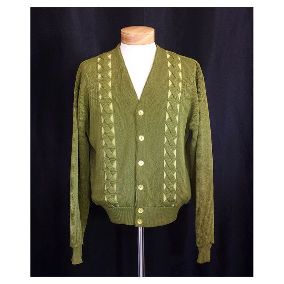 Vintage 1950s TV Night Mens Cardigan Sweater