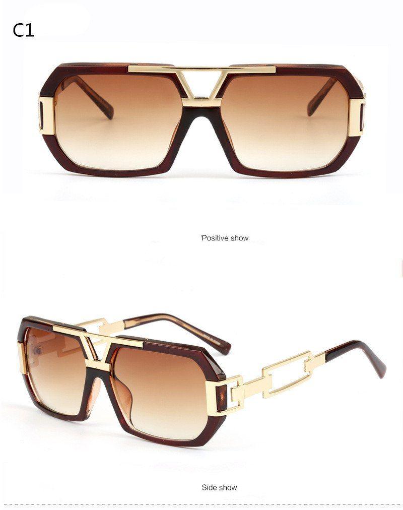c7dadd0358e Michelle Flat Top Men Glasses Frame Brand Designer Square Metal Gold ...