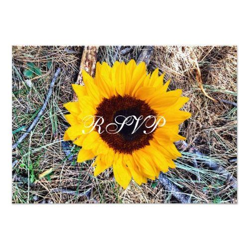 Camo Wedding Reception Ideas: Rustic Country Camo Sunflower Wedding RSVP Cards