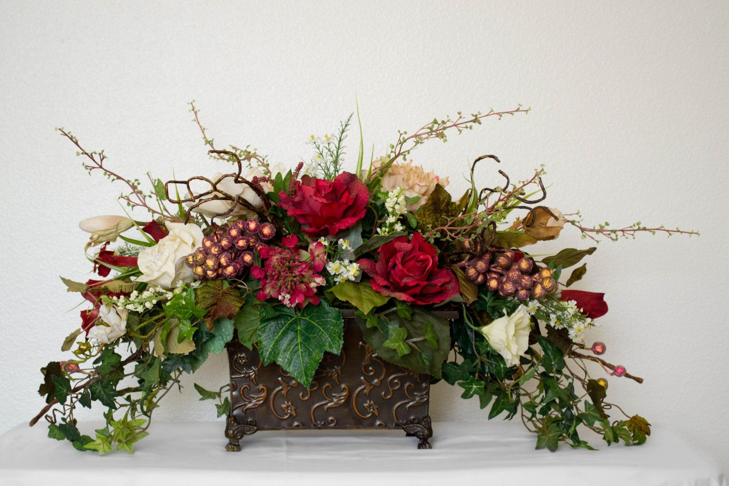 Christmas Flower Arrangements Artificial.Medium Silk Floral Arrangement With Roses Grapes And Ivy
