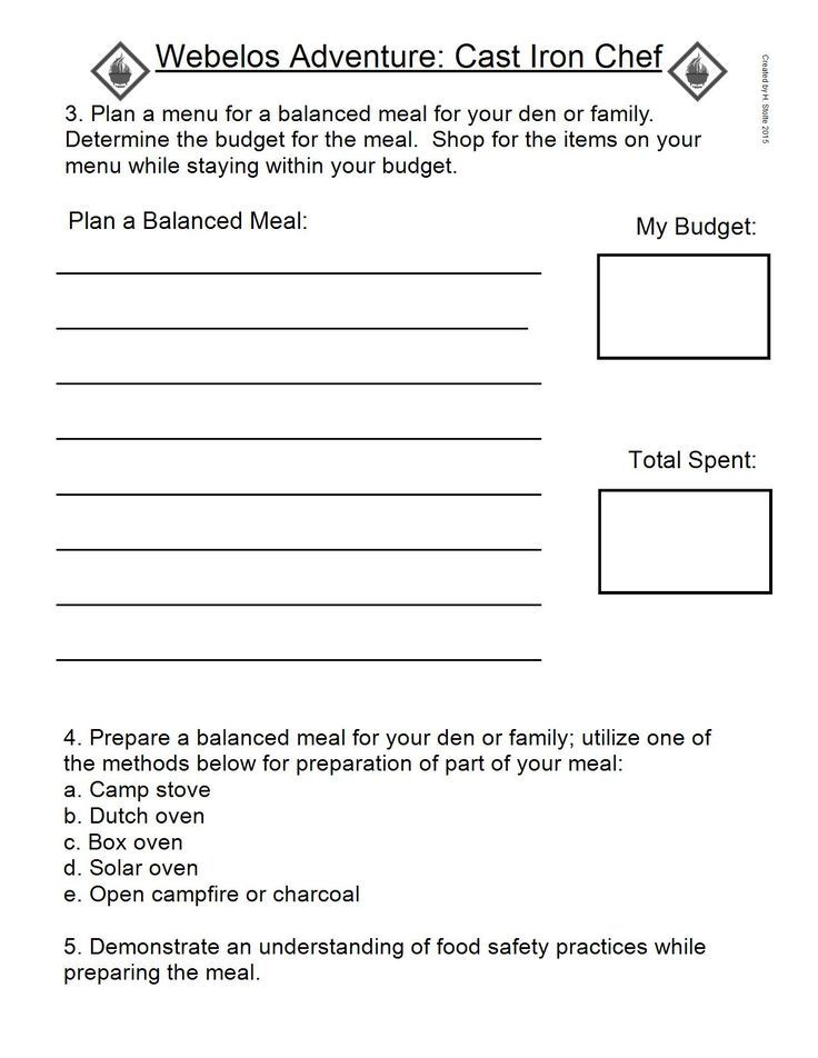 Webelos Adventure Work Sheet. CAST IRON CHEF #3,4,& 5. IMAGE ONLY ...
