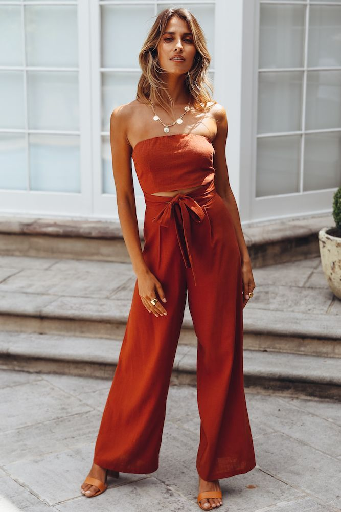 discount shop excellent quality purchase genuine Pop Records Jumpsuit Rust. The color of this dress is great ...