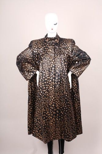Vintage Pauline Trigere Black Gold Metallic Patterned Long Sleeve Rain Coat | eBay