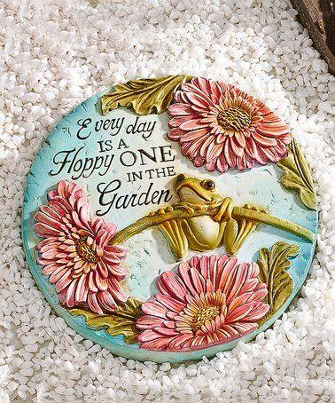 Look at this #zulilyfind! Frog & Flower 'Every Day is a Hoppy One' Stepping Stone #zulilyfinds