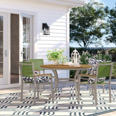 Sol 72 Outdoor Caspian 5 Piece Dining Set With Green Sling Back