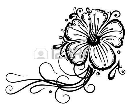 Pochoir Fleur Decoration En Filigrane D Hibiscus Noir Flower Tattoo Tattoo Style Hibiscus