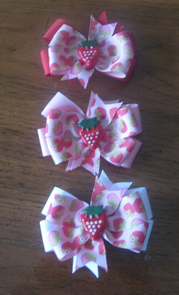 Summer Strawberry 3 inch Pinwheel Hairbow Choose from by EmzBowz, $4.50