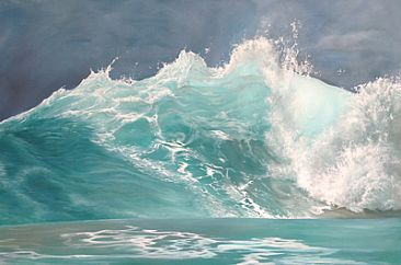 Ocean Wave Paintings | Ocean Wave - Painting - Nature Art by Michelle Caitens