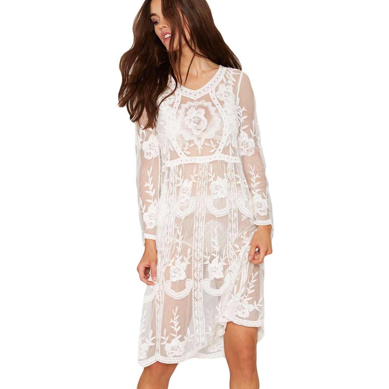 Long Sleeve Lace Midi Dress LAVELIQ
