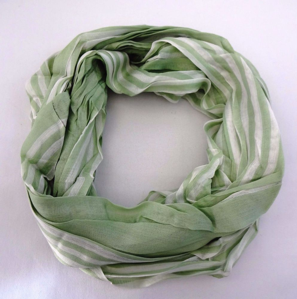 Infinity scarf sage green white stripes loop cotton silk blend Look by M…