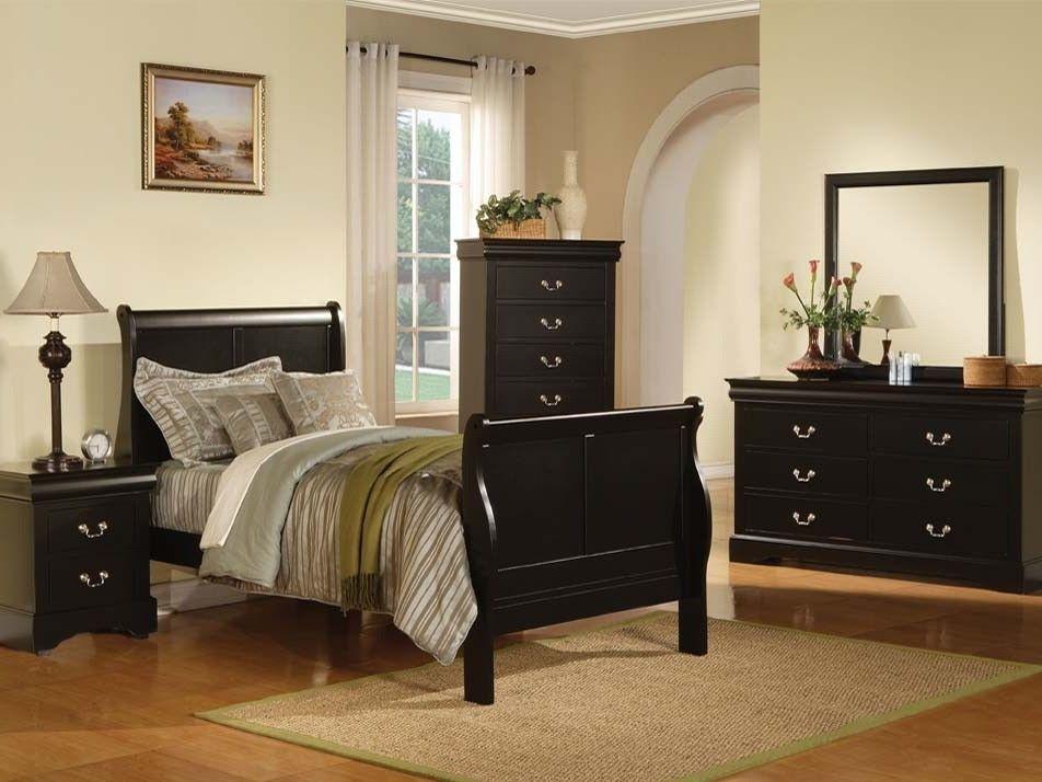 ACME LOUIS PHILIPPE III Bedroom Black   The Louis Philippe III Sleigh  Bedroom Collection Features KD