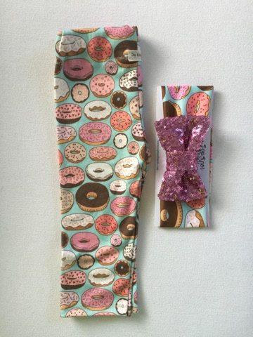 Donut Leggings & Headband Set Glitter Bow babys by TopKnotBands