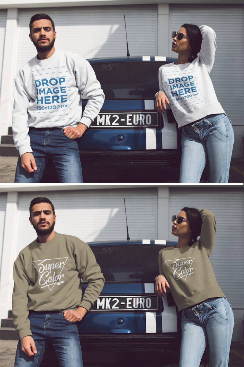 Download Placeit Couple Wearing Matching Crewneck Sweatshirts While Hanging Out Outdoors Near A Vintage Car Mockup Crew Neck Sweatshirt Sweatshirts Clothing Mockup