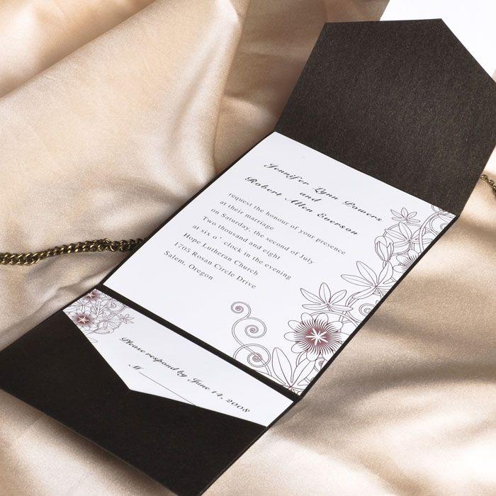 Botanical Lace Pocket Wedding Card