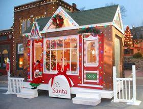 Parkville Mo Christmas On The River 2020 Santa's House on Main Street. Historic Downtown Parkville