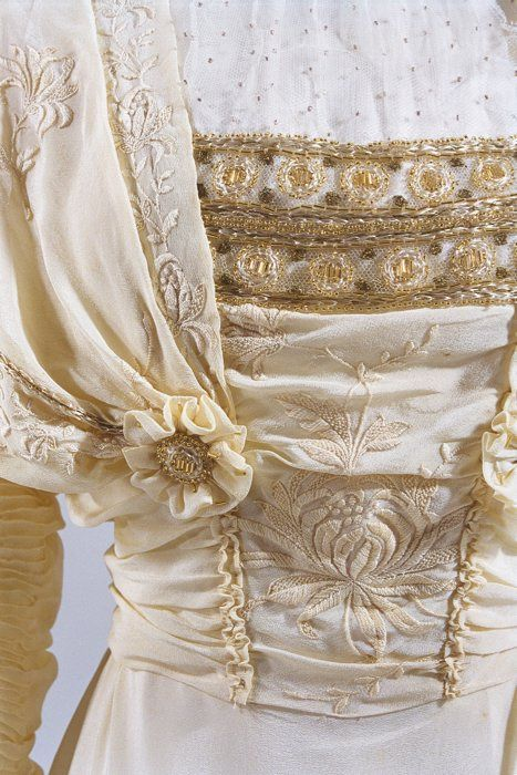 Detail of court dress (robe montante) worn by Dowager Empress Akinori, 1900s, at the Bunka Gakuen Costume Museum