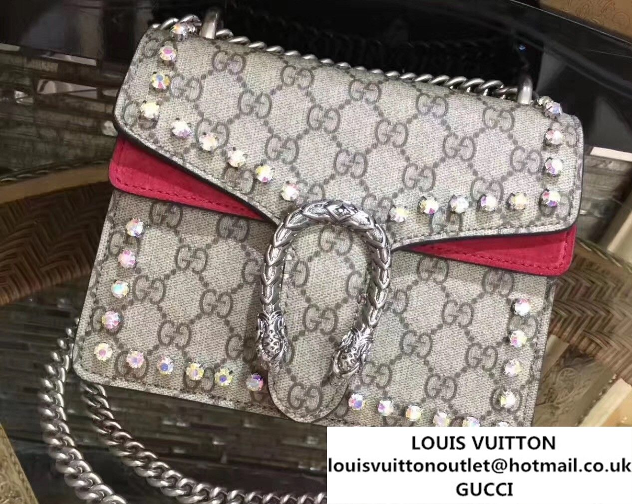 83963a36b1e Gucci Mini Dionysus Crystal GG Supreme Canvas Shoulder Bag 421970 2017