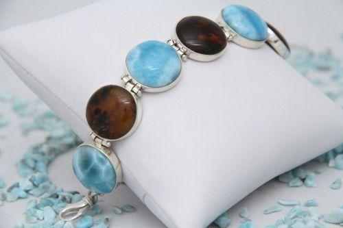 Silver Artisan Larimar Stone Bracelet