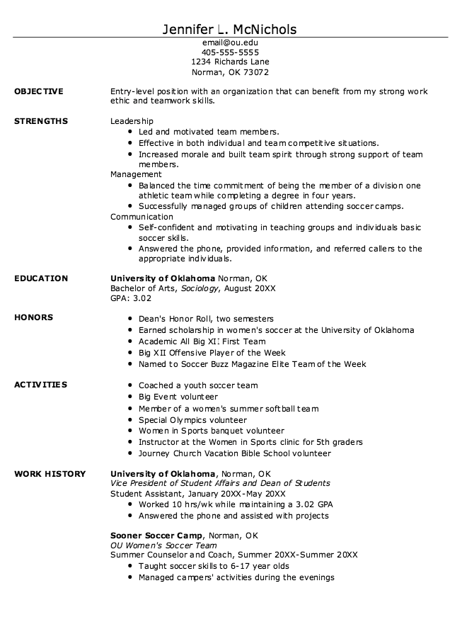 Example Of Student Athlete Resume  HttpExampleresumecvOrg