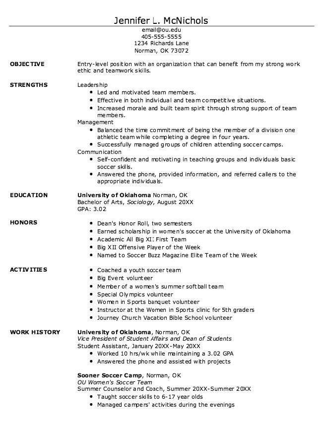 student athlete resume example